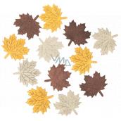 Listy dřevěné béžovo-žluto-hnědé 4 cm 12 kusů