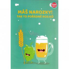 Albi Hrací přání do obálky K narozeninám Přání s pivem Hospodo nalejvej Alkehol 14,8 x 21 cm