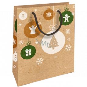 Nekupto Dárková kraftová taška 25 x 8 x 19 cm Vánoční anděl, vločky, stromek 593 WKHM