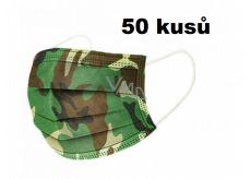 Rouška 3 vrstvá ochranná zdravotní netkaná jednorázová, nízký dýchací odpor 50 kusů Kamufláž