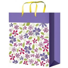 Taška Dárková celoroční fialová s květy M 23 x 18 x 10 cm