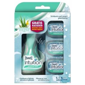 Wilkinson Intuition Naturals Sensitive Care 4 břitý holicí strojek pro ženy + náhradní hlavice 4 kusy, kosmetická sada