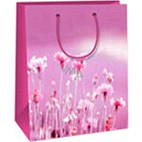 Ditipo Dárková papírová taška 18 x 10 x 22,7 cm světle fialová s květy