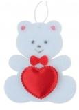 Medvídek z filcu se srdíčkem bílý na zavěšení 6,5 cm