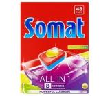 Somat All in 1 Lemon & Lime tablety do myčky obohacené o sílu kyseliny citronové a pomáhají odstranit těžce odolnou špínu 48 kusů