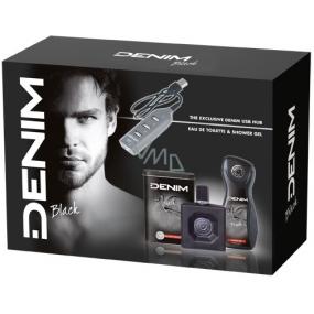 Denim Black toaletní voda pro muže 100 ml + sprchový gel 250 ml + USB rozbočovač, kosmetická sada