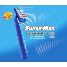 Super-Max Long Handle jednorázový 2břitý holící strojek pro muže 1 kus
