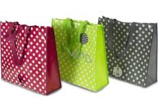 RSW Nákupní taška s potiskem Puntíky šedá 43 x 40 x 13 cm