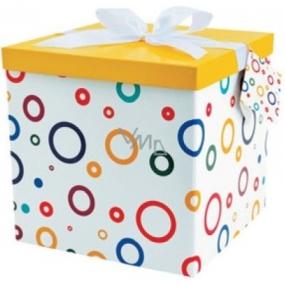 Dárková krabička skládací s mašlí 01 S kruhy XL 25 x 25 x 14,5 cm