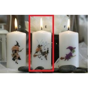 Lima Čarodějnice na koštěti s kočkou svíčka s potiskem válec bílá 50 x 100 mm 1 kus