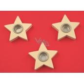 Dřevěný svícen hvězda 6 cm, 3 ks (otvor 1,5 cm)