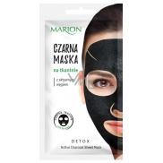 Marion Detox Black s aktivním dřevěným uhlím pro regulaci mazu černá látková pleťová maska 1 kus