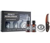 Percy Nobleman Šampon na vousy 30 ml + vyživující olejový kondicionér na vousy s vůní 30 ml + vosk na vousy 20 ml + hřeben na vousy a knír, pánská péče o vousy
