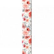 Ditipo Dárkový balicí papír 70 x 200 cm bílý červené květy