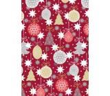Ditipo Dárkový balicí papír 70 x 200 cm Vánoční vínový baňky a stromky