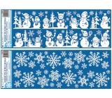 Okenní fólie s glitry Vločky a sněhuláci 21 x 60 cm mix motivů