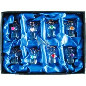 Andílci ze skla se srdíčky v displej boxu 4,5 cm 8 kusů