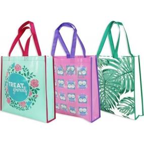 RSW Nákupní taška s potiskem Treat Yourself tyrkysová 38 x 38 x 10 cm