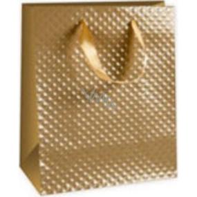 Ditipo Dárková papírová taška střední zlatá 18 x 10 x 22,7 cm DC