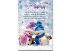 Albi Hrací přání do obálky K Vánocům Dva sněhuláci Cover verze Jingle Bell rock 15,5 x 22 cm