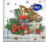 Aha Vánoční papírové ubrousky 3 vrstvé 33 x 33 cm 20 kusů Červená svíčka, domek