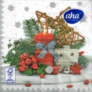 Aha Vánoční papírové ubrousky Červená svíčka, domek 3 vrstvé 33 x 33 cm 20 kusů