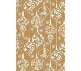 Ditipo Dárkový balicí papír 70 x 200 cm Zlatý bílé ozdoby