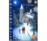 Albi Svítící přání do obálky K Vánocům Lidi jdou do kostela na půlnoční 14,8 x 21 cm