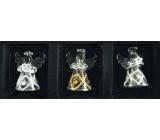 Andělé ze skla sada 3 ks káro a kamínky, 4,5 cm