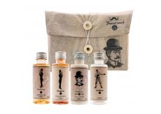 Bohemia Gifts Travel Pack Gentleman sprchový gel pro muže 50 ml + šampon na vlasy 50 ml + tělové mléko 50 ml + lahvička k naplnění 50 ml, cestovní kosmetická sada pro muže