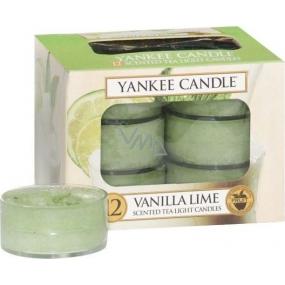 Yankee Candle Vanilla Lime - Vanilka s limetkou vonná čajová svíčka 12 x 9,8 g