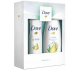 Dove Pear sprchový gel pro ženy 250 ml + deodorant antiperspirant sprej pro ženy 150 ml, kosmetická sada