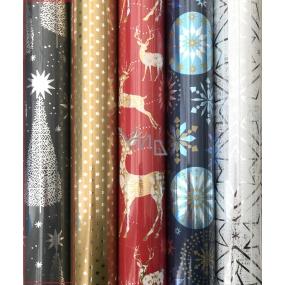 Zöllner Vánoční Luxusní balicí papír Platinum šedý - stříbrné hvězdy a stromky 1,5 m x 70 cm