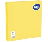 Aha Papírové ubrousky jednobarevné 3 vrstvé 33 x 33 cm 20 kusů žluté