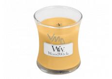 WoodWick Oat Flower - Ovesný květ vonná svíčka s dřevěným knotem a víčkem sklo malá 85 g