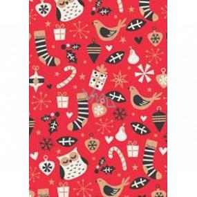 Ditipo Dárkový balicí papír 70 x 200 cm Vánoční KRAFT červený sovy ponožky dárky