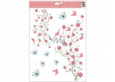Okenní fólie 2 větve růžové květy, modří motýli s glitry 30 x 42 cm