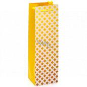 Nekupto Dárková papírová taška na láhev 10 x 33 x 8,5 cm Žluté ornamenty 2026 01 KFLH