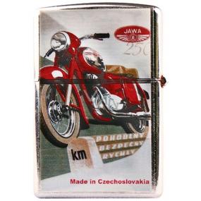 Bohemia Retro zapalovač kovový benzínový s potiskem Motorka červená 5,5 x 3,5 x 1,2 cm