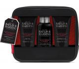 Baylis & Harding Men Černý pepř a Ženšen mycí gel na tělo a vlasy 100 ml + mycí gel na obličej 100 ml + balzám po holení 100 ml + omyvatelná kosmetická taška , kosmetická sada