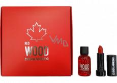 Dsquared2 Red Wood toaletní voda pro ženy 5 ml + rtěnka 1,2 g, dárková sada