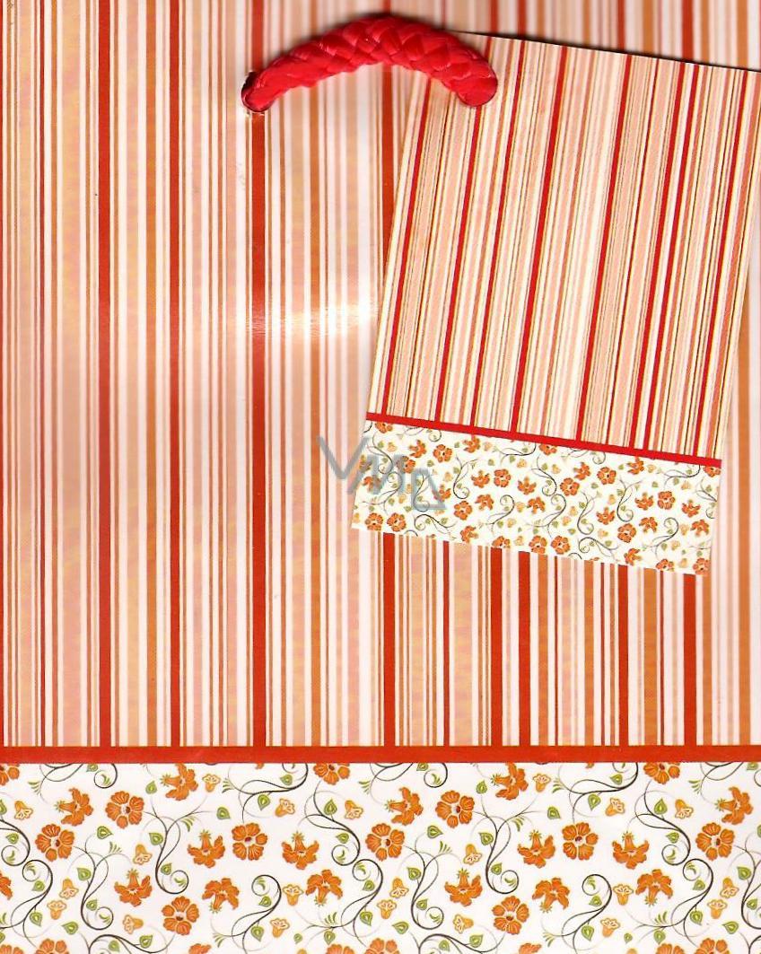 Nekupto Dárková papírová taška malá 14 x 11 x 6,5 cm Červený proužek 1 kus 805 30 BS