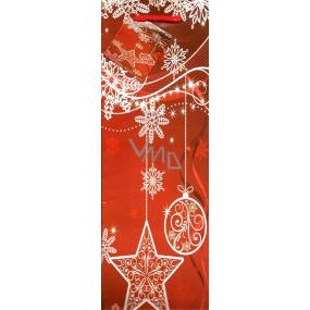 Nekupto Dárková papírová taška na láhev 923 30 WLH červená Vločky a baňky 33 x 10 x 9 cm
