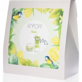 Ryor Relax osvěžující sprchový gel 200 ml + zjemňující cukrový peeling 325 g + froté ručník 30 x 50 cm, kosmetická sada