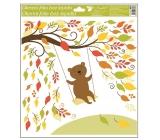 Okenní fólie bez lepidla podzimní zvířátka 33 x 30 cm podzimní zvířátka Medvídek