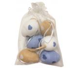 Vajíčka se srdíčky plastová na zavěšení 6 cm, 6 kusů v organze