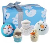 Bomb Cosmetics Sněhulák - Mr Frosty šumivý balistik do koupele 3 x 160 g + špalíček do koupele 2 x 50 g, kosmetická sada