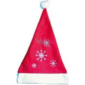 Mikuláš / Santa vánoční čepice červená s vločkami 40 x 30 cm 1 kus