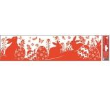Room Decor Okenní fólie pruh velikonoční siluety červené 3 zajíčci 45 x 12 cm