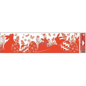 Room Decor Okenní fólie bez lepidla pruh velikonoční siluety červené 3 zajíčci 45 x 12 cm
